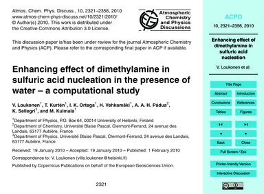 Enhancing Effect of Dimethylamine in Sul... by Loukonen, V.