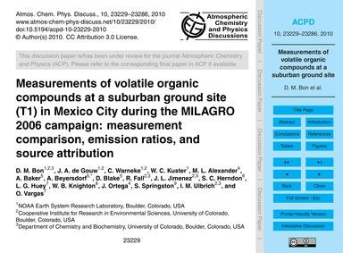 Measurements of Volatile Organic Compoun... by Bon, D. M.