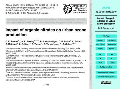 Impact of Organic Nitrates on Urban Ozon... by Farmer, D. K.