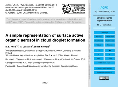 A Simple Representation of Surface Activ... by Prisle, N. L.
