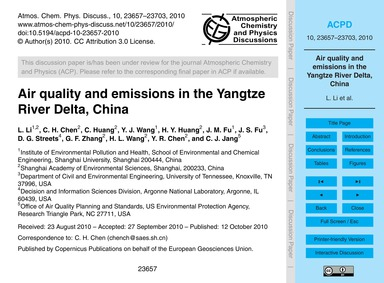 Air Quality and Emissions in the Yangtze... by Li, L.
