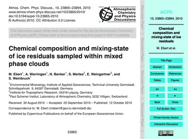 Chemical Composition and Mixing-state of... by Ebert, M.
