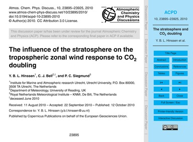 The Influence of the Stratosphere on the... by Hinssen, Y. B. L.