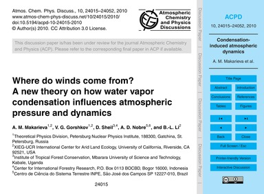 Where Do Winds Come from? a New Theory o... by Makarieva, A. M.