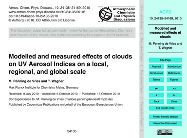Modelled and Measured Effects of Clouds ... by Penning De Vries, M.