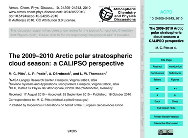 The 2009–2010 Arctic Polar Stratospheric... by Pitts, M. C.