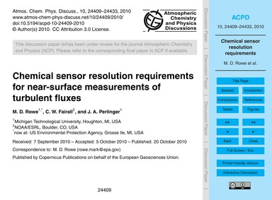 Chemical Sensor Resolution Requirements ... by Rowe, M. D.