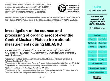 Investigation of the Sources and Process... by Decarlo, P. F.