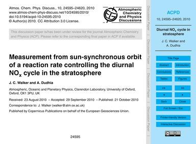 Measurement from Sun-synchronous Orbit o... by Walker, J. C.
