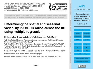Determining the Spatial and Seasonal Var... by Simon, H.