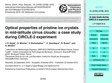 Optical Properties of Pristine Ice Cryst... by Gayet, J.-f.