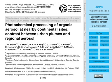 Photochemical Processing of Organic Aero... by Slowik, J. G.