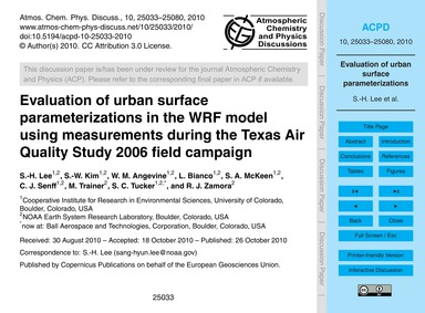 Evaluation of Urban Surface Parameteriza... by Lee, S.-h.