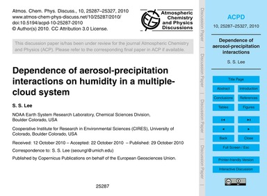 Dependence of Aerosol-precipitation Inte... by Lee, S. S.