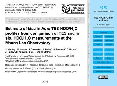 Estimate of Bias in Aura Tes Hdo/H2O Pro... by Worden, J.