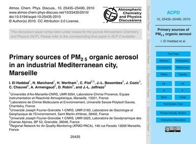 Primary Sources of Pm2.5 Organic Aerosol... by El Haddad, I.