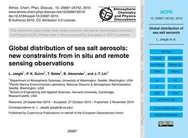 Global Distribution of Sea Salt Aerosols... by Jaeglé, L.