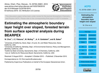 Estimating the Atmospheric Boundary Laye... by Choi, W.