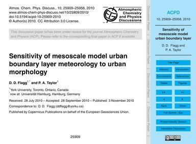 Sensitivity of Mesoscale Model Urban Bou... by Flagg, D. D.