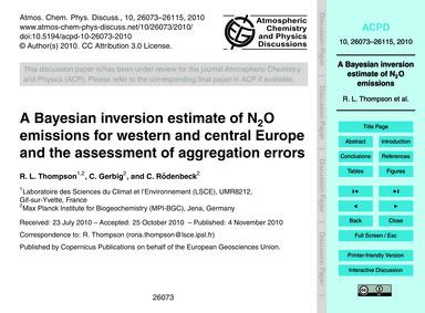 A Bayesian Inversion Estimate of N2O Emi... by Thompson, R. L.