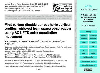 First Carbon Dioxide Atmospheric Vertica... by Foucher, P. Y.
