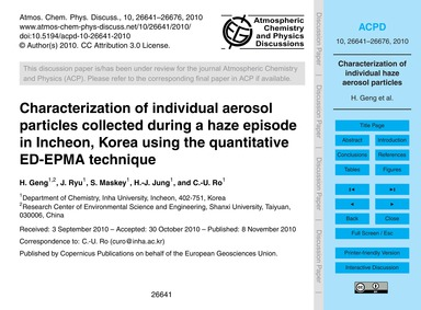 Characterization of Individual Aerosol P... by Geng, H.