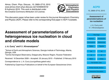 Assessment of Parameterizations of Heter... by Curry, J. A.