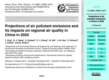 Projections of Air Pollutant Emissions a... by Xing, J.
