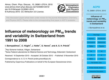 Influence of Meteorology on Pm10 Trends ... by Barmpadimos, I.