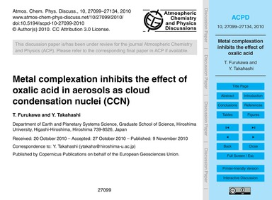 Metal Complexation Inhibits the Effect o... by Furukawa, T.