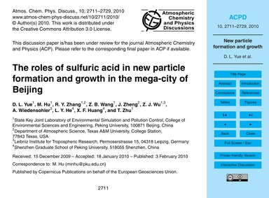 The Roles of Sulfuric Acid in New Partic... by Yue, D. L.