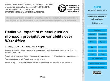 Radiative Impact of Mineral Dust on Mons... by Zhao, C.