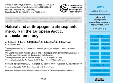 Natural and Anthropogenic Atmospheric Me... by Steen, A. O.