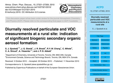 Diurnally Resolved Particulate and Voc M... by Sjostedt, S. J.