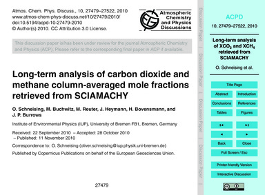 Long-term Analysis of Carbon Dioxide and... by Schneising, O.