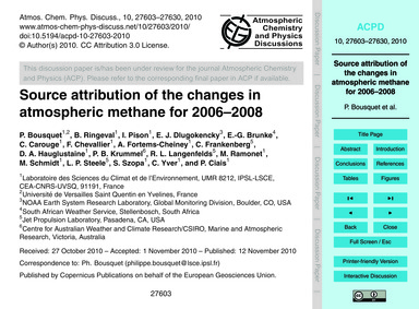 Source Attribution of the Changes in Atm... by Bousquet, P.