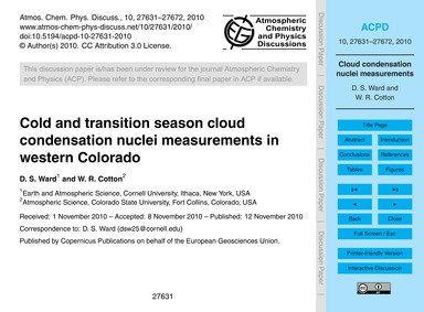 Cold and Transition Season Cloud Condens... by Ward, D. S.