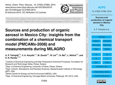 Sources and Production of Organic Aeroso... by Tsimpidi, A. P.