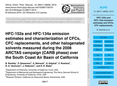 Hfc-152A and Hfc-134A Emission Estimates... by Barletta, B.