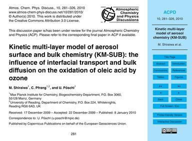 Kinetic Multi-layer Model of Aerosol Sur... by Shiraiwa, M.
