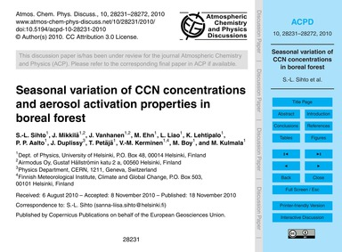 Seasonal Variation of Ccn Concentrations... by Sihto, S.-l.