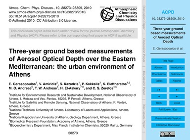 Three-year Ground Based Measurements of ... by Gerasopoulos, E.