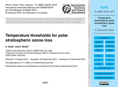 Temperature Thresholds for Polar Stratos... by Drdla, K.
