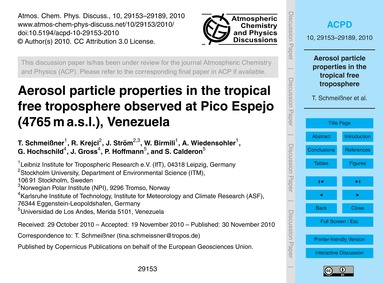 Aerosol Particle Properties in the Tropi... by Schmeißner, T.