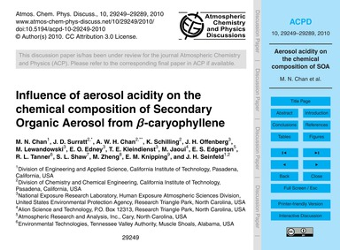 Influence of Aerosol Acidity on the Chem... by Chan, M. N.