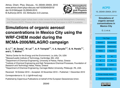 Simulations of Organic Aerosol Concentra... by Li, G.