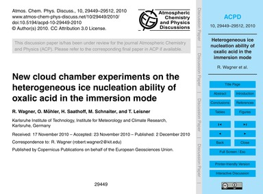 New Cloud Chamber Experiments on the Het... by Wagner, R.