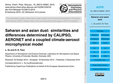 Saharan and Asian Dust: Similarities and... by Su, L.