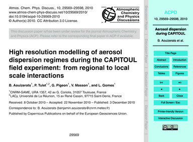 High Resolution Modelling of Aerosol Dis... by Aouizerats, B.