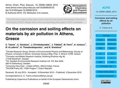 On the Corrosion and Soiling Effects on ... by Tzanis, C.